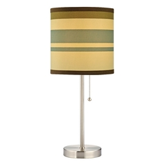 Design Classics Lighting Satin Nickel Pull-Chain Table Lamp with Striped Drum Shade 1900-09 SH9540