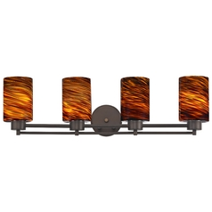 Modern Bathroom Light with Brown Art Glass - Four Lights