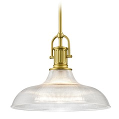 Industrial Brass Pendant Light Prismatic Glass 15.38-Inch Wide