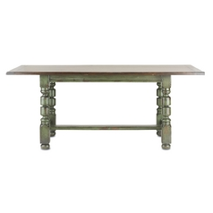 Currey and Company Lighting Fruitwood / Distressed Emerald Green Table