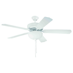 Craftmade Pro Builder 201 White Ceiling Fan with Light