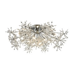 Mid-Century Modern Crystal Semi-Flushmount Cluster Light Chrome Snowburst by Elk Lighting