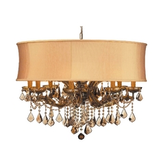Crystal Chandelier with Gold Shade in Antique Brass Finish