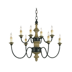Currey and Company Lighting Chandelier in Old Iron/natural Ash Finish 9181