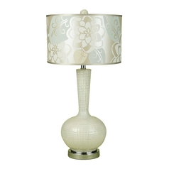 Table Lamp with White Shade in Cream Glass Finish