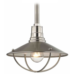 10-Inch Caged RLM Pendant Light in Satin Nickel Finish