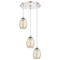Satin Nickel Multi-Light Pendant with Mercury Oblong Glass and 3-Lights