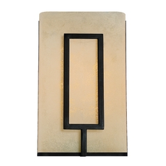 LED Sconce Wall Light with Amber Glass in Burnished Bronze Finish