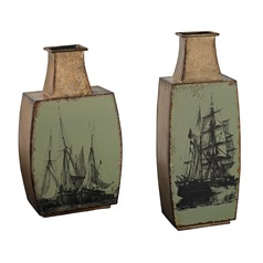 Set of 2 Metal Vases With Ship Print