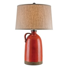 Currey and Company Burnham Baltik Red/mol� Black Table Lamp with Drum Shade
