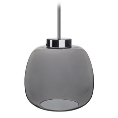 Modern Chrome LED Pendant with Smoked Shade 3000K 310LM