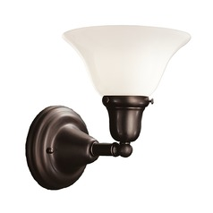 Sconce with White Glass in Old Bronze Finish