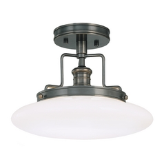 Modern Semi-Flushmount Light with White Glass in Old Bronze Finish