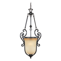 Pendant Light with Beige / Cream Glass in Natural Iron Finish