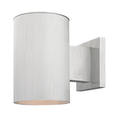 Cylinder Outdoor Wall Down Light in Brushed Aluminum Finish