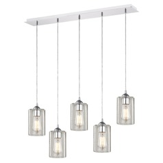 Design Classics Gala Chrome Multi-Light Pendant with Cylindrical Shade