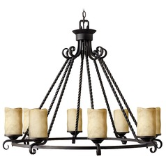 Chandelier with Brown Glass in Olde Black Finish