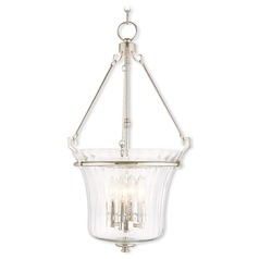 Livex Lighting Cortland Polished Nickel Pendant Light with Fluted Shade
