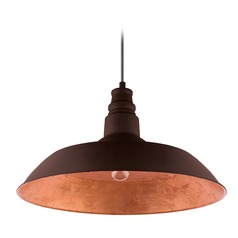 Farmhouse Barn Light Chocolate Brown w/ Gold Interior Somerton 2 by Eglo Lighting