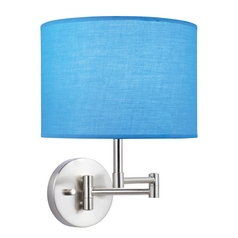 Swing Arm Lamp with Blue Drum Shade in Polished Steel Finish