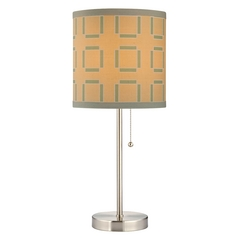 Design Classics Lighting Pull-Chain Table Lamp with Tan Drum Shade and Green Pattern 1900-09 SH9543