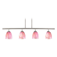 Modern Island Light with Pink Glass in Satin Nickel Finish