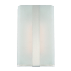Modern LED Sconce Wall Light with White Glass in Satin Platinum Finish