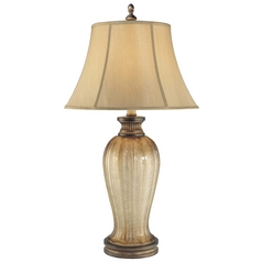 Table Lamp with Beige / Cream Shade in Patina Iron Finish