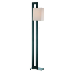 Lite Source Benito Natural Black Floor Lamp with Rectangle Shade