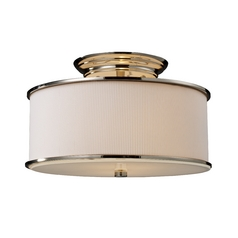 Modern Semi-Flushmount Light with White Shade in Polished Nickel