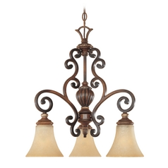 Chandelier with Beige / Cream Glass in Burnished Walnut W/gold Finish