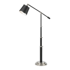 AF Lighting Oil Rubbed Bronze with Satin Nickel Swing Arm Lamp with Drum Shade