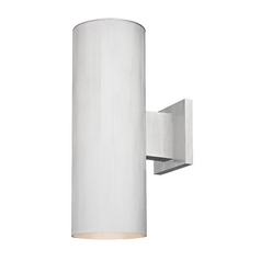 Up / Down Cylinder Outdoor Wall Light in Brushed Aluminum Finish