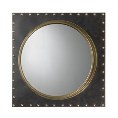Metal Rivet Porthole Mirror