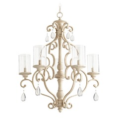 Seeded Glass Crystal Chandelier White Quorum Lighting