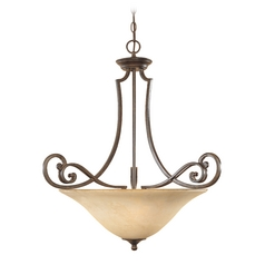 Pendant Light with Amber Glass in Forged Sienna Finish