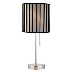 Pull-Chain Table Lamp with Black Opaque Lamp Shade