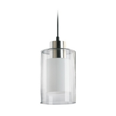 Modern Mini-Pendant Light with Double Cylinder Glass Shades