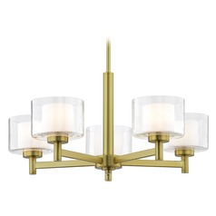 Modern Satin Brass 5 Light Chandelier with Satin White and Clear Seeded Glass
