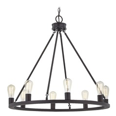 Bainbridge Bronze Industrial 8-Light Round Chandelier