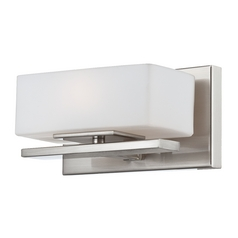 Modern Sconce Wall Light with White Glass in Satin Platinum Finish