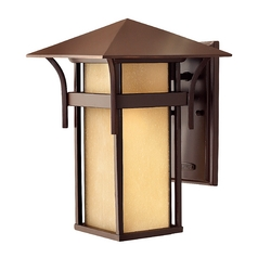 Etched Amber Seeded Glass Outdoor Wall Light Bronze 13-1/2-Inch Hinkley Lighting