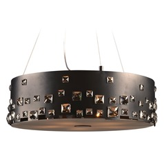 Plc Lighting Twilight Black Pendant Light with Drum Shade
