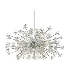Mid-Century Modern Crystal Pendant Cluster Light Chrome Snowburst by Elk Lighting
