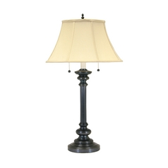 Table Lamp with White Shades in Oil Rubbed Bronze Finish