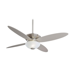 Modern Ceiling Fan with Light with White Glass in Brushed Nickel Finish