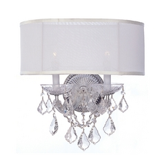 Crystal Sconce Wall Light with White Shades in Polished Chrome Finish