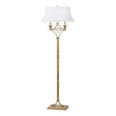 Floor Lamp with White Shades in Soft Gold Finish