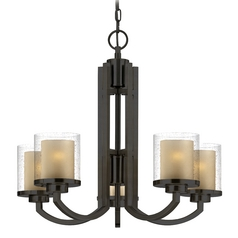 Modern Chandelier with Amber Glass in Bolivian Bronze Finish