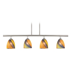 Modern Island Light with Multi-Color Glass in Satin Nickel Finish